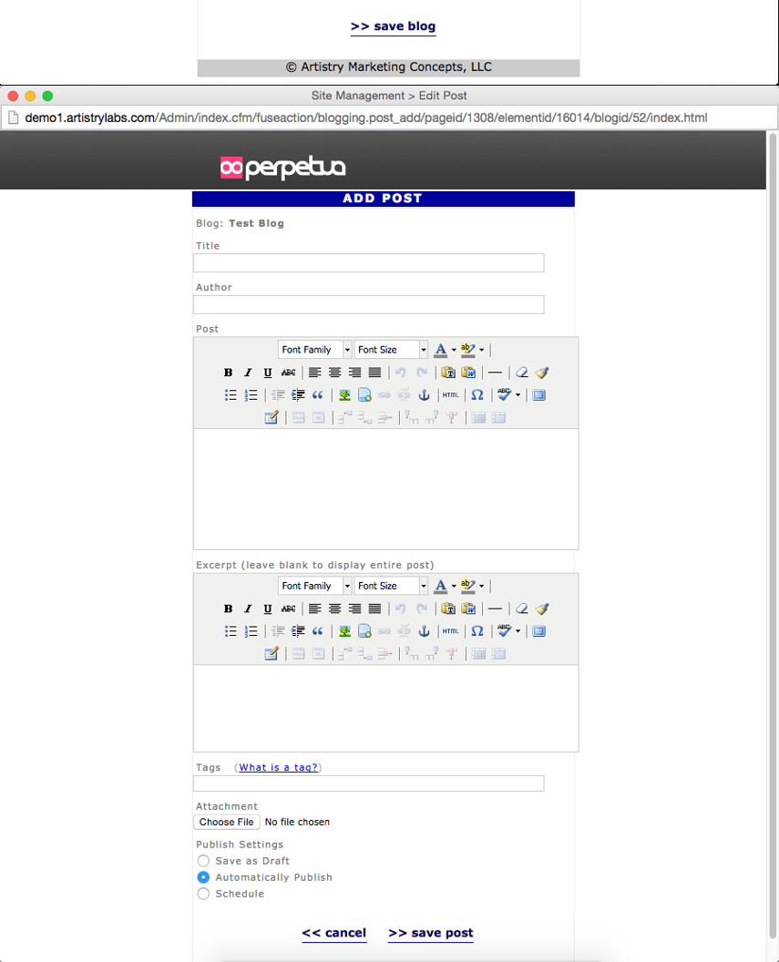 Click the Save button. After clicking the save button you will be taken to the Add Post window to post your first blog entry.