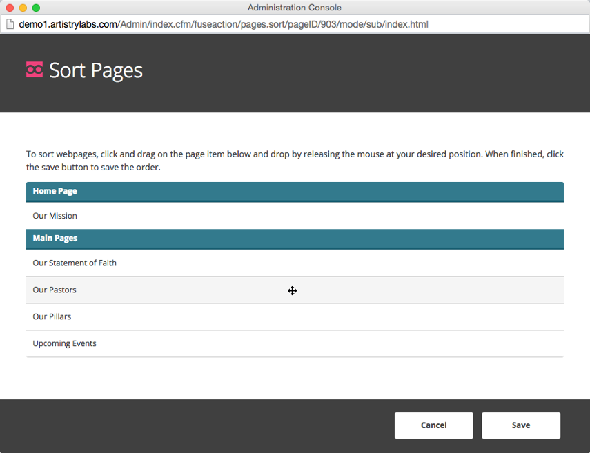 Click & drag the pages into the order that you want.