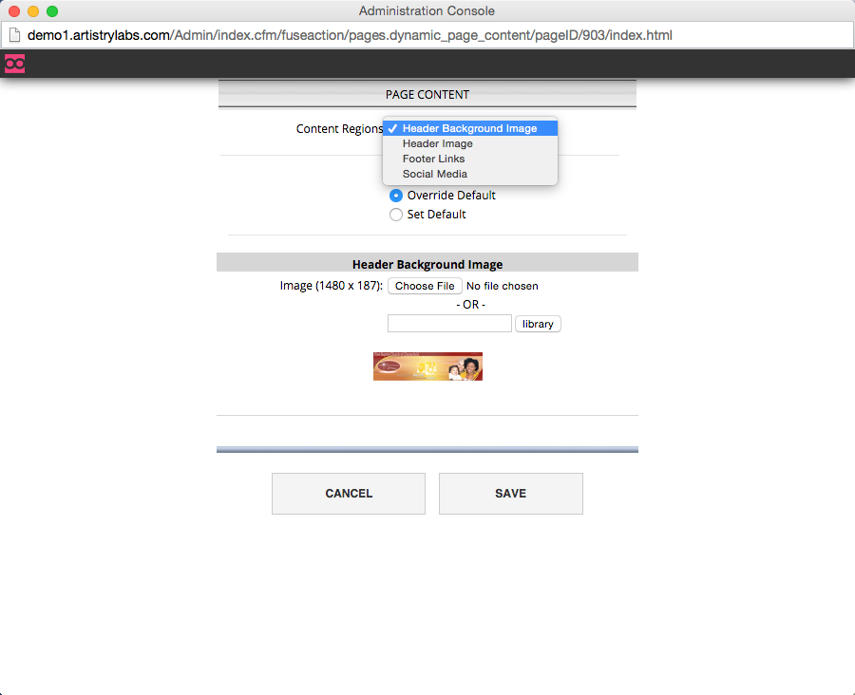 Choose the region you want to modify from the dropdown box.