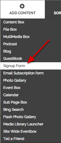 """Click on """"Signup Form"""" under """"Add Content"""""""