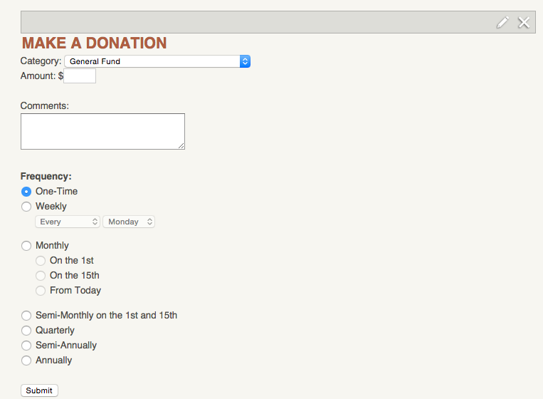 Recurring payment options should now display on that Donation form.