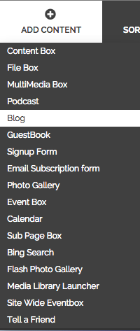 """From the """"Add Content"""" menu on your administrative tool bar choose Blog"""