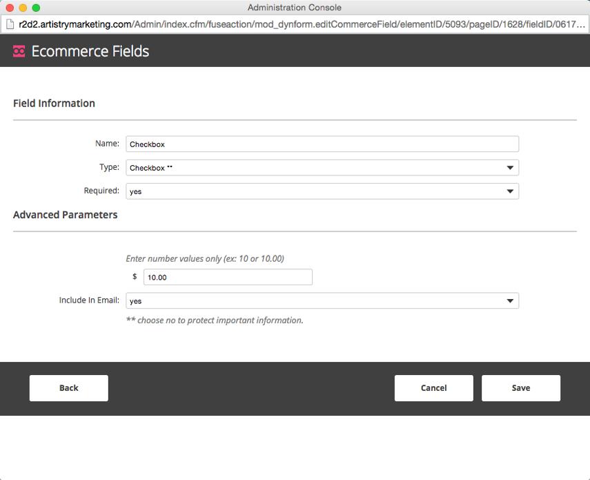 Checkbox Configuration