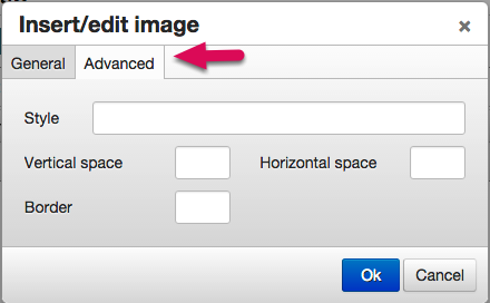 "After selecting an image set the borders and pad for the image by clicking the advanced tab in the ""insert edit image"" button."