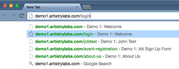Browse to your website and add /login to the end of the address.