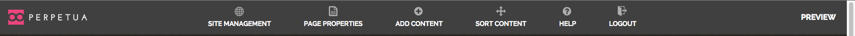 To verify you are logged in look for the Perpetua CMS toolbar at the top of your browser window.
