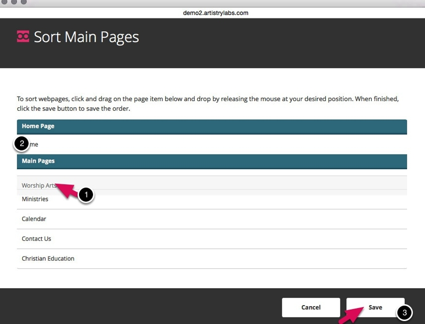 Sort Pages