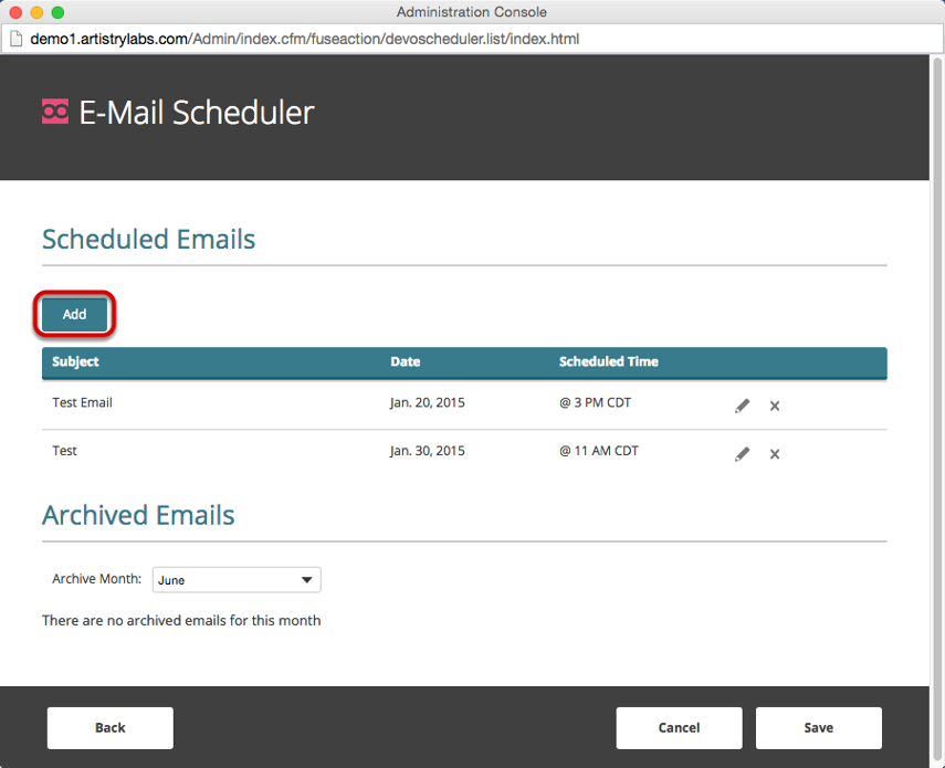 "Click ""Add"" to schedule a new email."