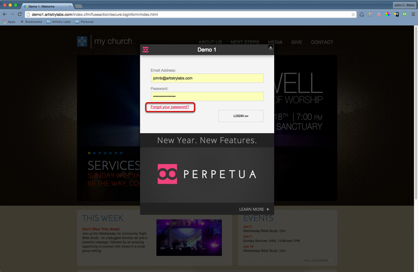 """Click """"Forgot your password?"""" on the Perpetua CMS login screen."""