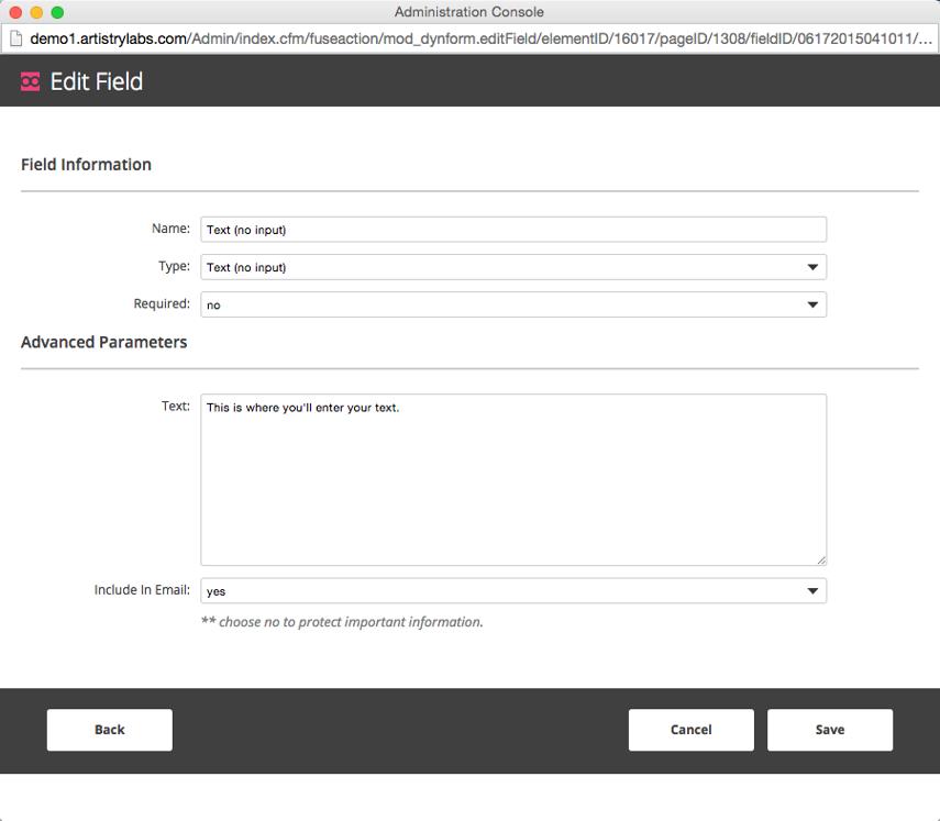Text (no input) Configuration