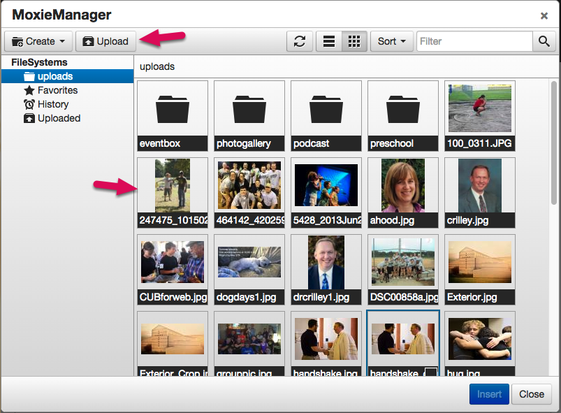 Once the image manager is open you can select a previously uploaded image or upload a new image.