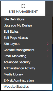 """Go to """"Website Statistics"""" which is listed under """"Site Management"""""""